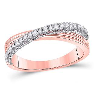 14kt Two-tone Gold Womens Round Diamond Crossover