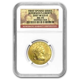 2007-W 1/2 oz Gold Jefferson's Liberty MS-70 NGC