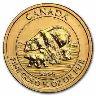 2015 Canada 1/4 oz BU Gold $10 Polar Bear and Cub