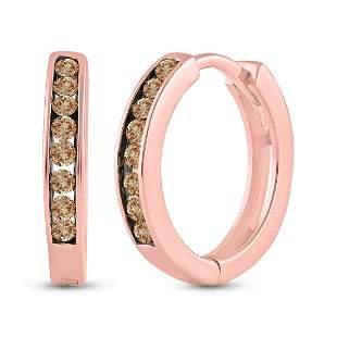 14kt Rose Gold Womens Round Brown Diamond Hoop Earrings