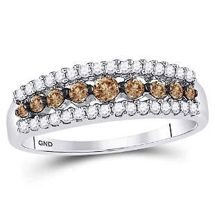14kt White Gold Womens Round Brown Diamond Band Ring
