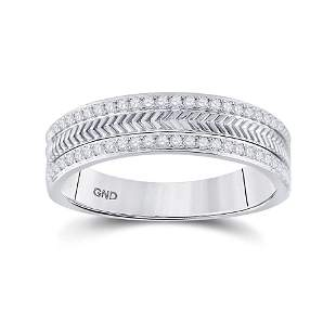 14kt White Gold Mens Round Diamond Wedding Wheat