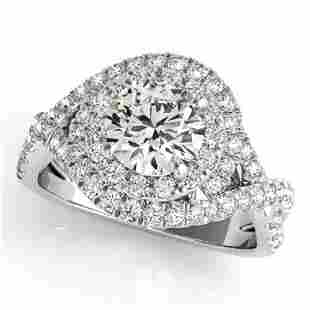 Natural 1.5 ctw Diamond Solitaire Halo Ring 14k White