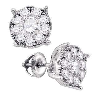 14kt White Gold Womens Round Diamond Cluster Earrings