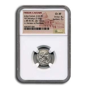 Roman Silver Denarius Julius Caesar (44 BC) CH XF NGC