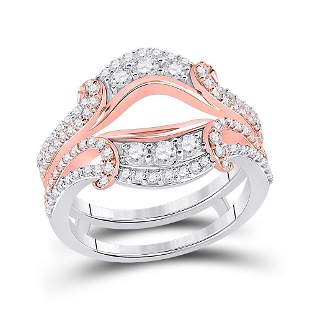 14kt Two-tone Gold Womens Round Diamond Wedding Wrap