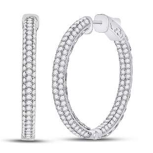 14kt White Gold Womens Round Diamond In Out Hoop