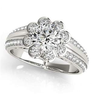 Natural 0.85 ctw Diamond Solitaire Halo Ring 14k White