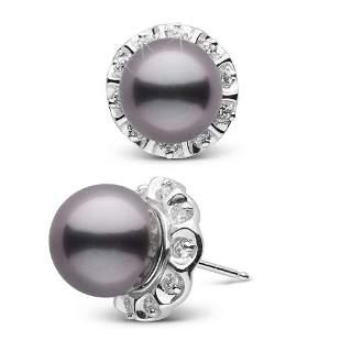 Black Tahitian Pearl and Diamond Tudor Stud Earrings