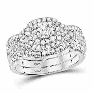 14kt White Gold Round Diamond Bridal Wedding Ring Band