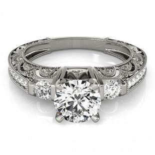 Natural 1.38 ctw Diamond Antique Ring 14k White Gold