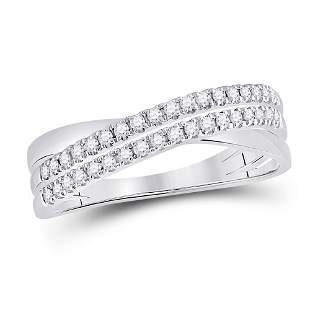 14kt White Gold Womens Round Diamond Crossover Band