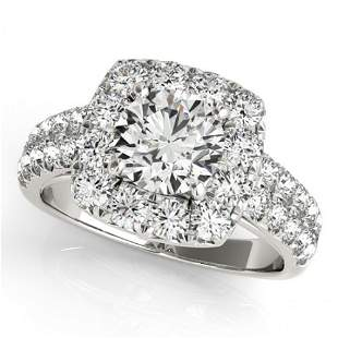 Natural 2.5 ctw Diamond Solitaire Halo Ring 14k White