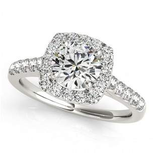 Natural 1.7 ctw Diamond Solitaire Halo Ring 14k White