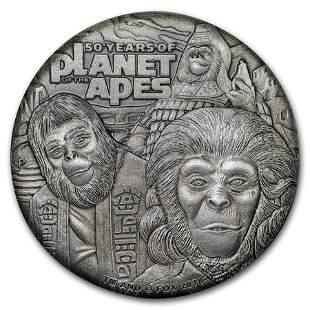 2018 Tuvalu 2 oz Silver 50th Anniv Planet of the Apes