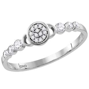14kt White Gold Womens Round Diamond Cluster Stackable
