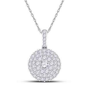 14kt White Gold Womens Round Diamond Cluster Pendant