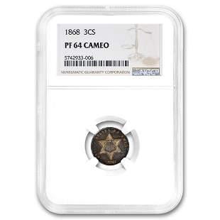 1868 Three Cent Silver PF-64 Cameo NGC