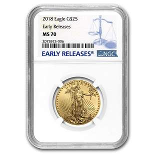 2018 1/2 oz Gold American Eagle MS-70 NGC (Early