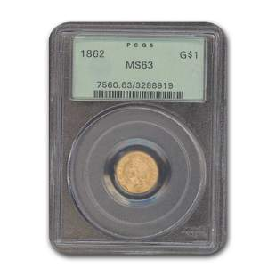 1862 $1 Indian Head Gold MS-63 PCGS