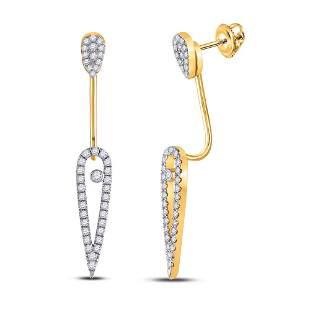 14kt Yellow Gold Womens Round Diamond Fashion Earrings