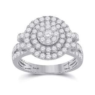 14kt White Gold Womens Round Diamond Circle Cluster