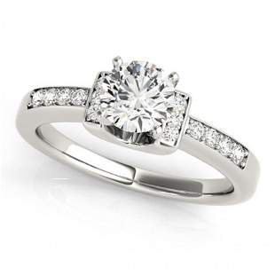 Natural 0.86 ctw Diamond SolitaireRing 14k White Gold