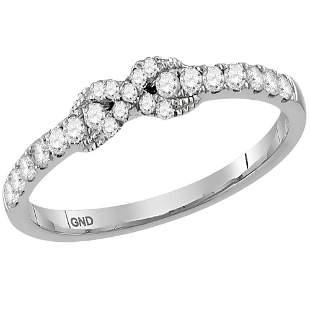 14kt White Gold Womens Round Diamond Infinity Knot