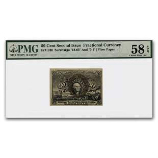 2nd Issue Fractional Currency 50 Cents Ch AU-58 EPQ PMG