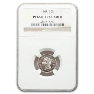 1868 Three Cent Nickel PF-66 UCAM NGC