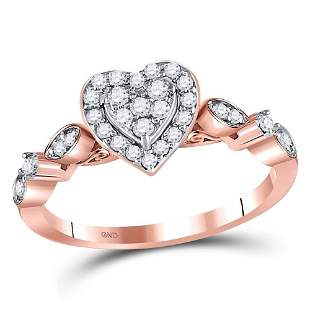 14kt Rose Gold Womens Round Diamond Heart Cluster Ring