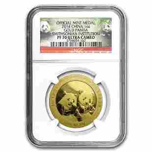 2014 China 1 oz Gold Panda Proof PF-70 NGC (Smithsonian