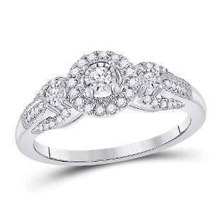 14kt White Gold Womens Round Diamond 3-stone Ring 1/4