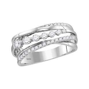 14kt White Gold Womens Round Diamond Band Ring 1/2 Cttw