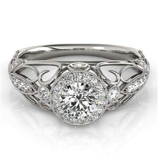 Natural 0.93 ctw Diamond Antique Ring 14k White Gold