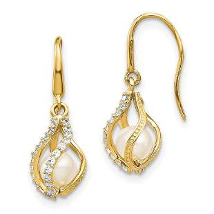 14k Yellow Gold White Cultured Pearl Cubic Zirconia