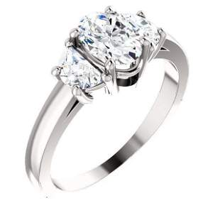 Natural 2.02 CTW Oval Cut & Half Moons 3-Stone Diamond
