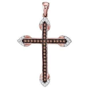 14kt Rose Gold Womens Round Brown Diamond Cross Pendant