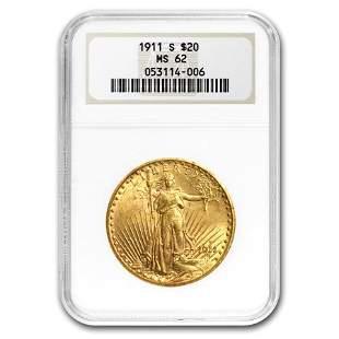 1911-S $20 Saint-Gaudens Gold Double Eagle MS-62 NGC