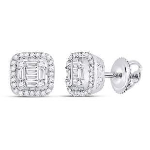 14kt White Gold Womens Baguette Diamond Fashion Cushion