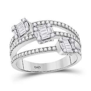 14kt White Gold Womens Baguette Diamond Triple Cluster