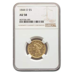1844-O $5 Liberty Gold Half Eagle AU-58 NGC