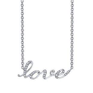 Natural 0.32 CTW LOVE Diamond Necklace 18KT White Gold
