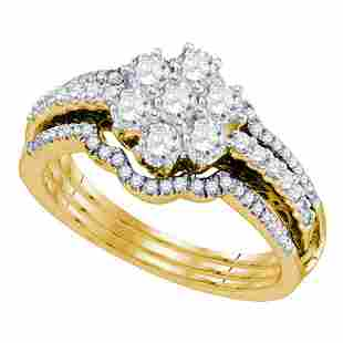 14kt Yellow Gold Diamond Cluster Bridal Wedding Ring
