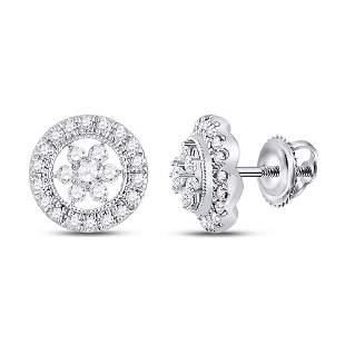 14kt White Gold Womens Round Diamond Circle Floral