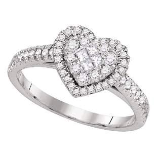 14kt White Gold Womens Princess Round Diamond Heart