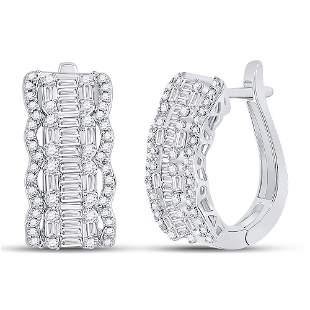 14kt White Gold Womens Baguette Diamond Fashion Hoop