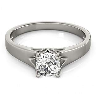 Natural 1.5 ctw Diamond Solitaire Ring 14k White Gold