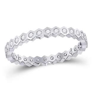 14kt White Gold Womens Round Diamond Band Ring 1/4 Cttw