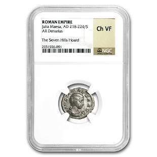 Roman Silver Denarius Julia Maesa Ch-VF NGC (218-224/5